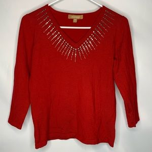 (4 for $25) Ellen Tracy red sweater top